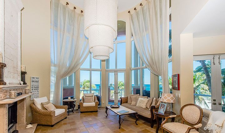 2 Story Living Room in Oceanfront Villa 1 at The Palms, Luxury Oceanfront Condominiums Fort Lauderdale, Florida 33305