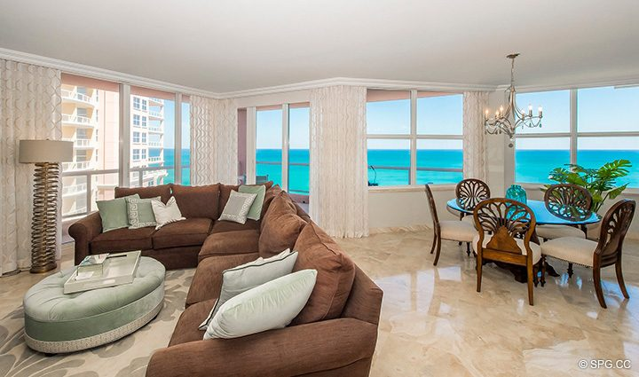 Beachfront Great Room in Residence 12B, Tower I at The Palms, Luxury Oceanfront Condominiums Fort Lauderdale, Florida 33305
