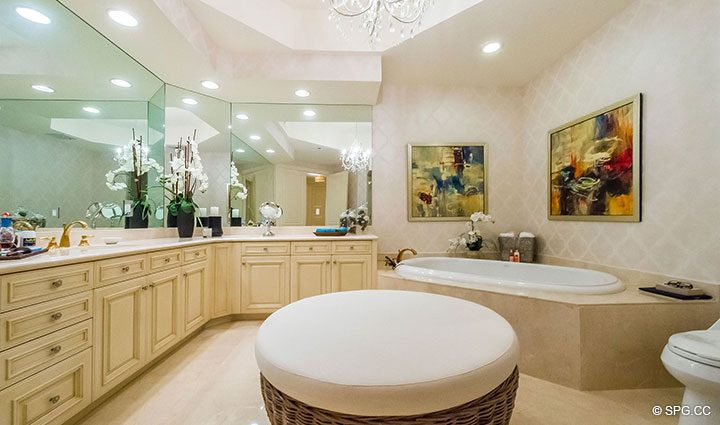 Spacious Master Bath inside Residence 204 at Bellaria, Luxury Oceanfront Condominiums in Palm Beach, Florida 33480.