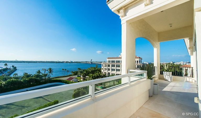 West Facing Terrace for Penthouse 7 at Bellaria, Luxury Oceanfront Condominiums in Palm Beach, Florida 33480.