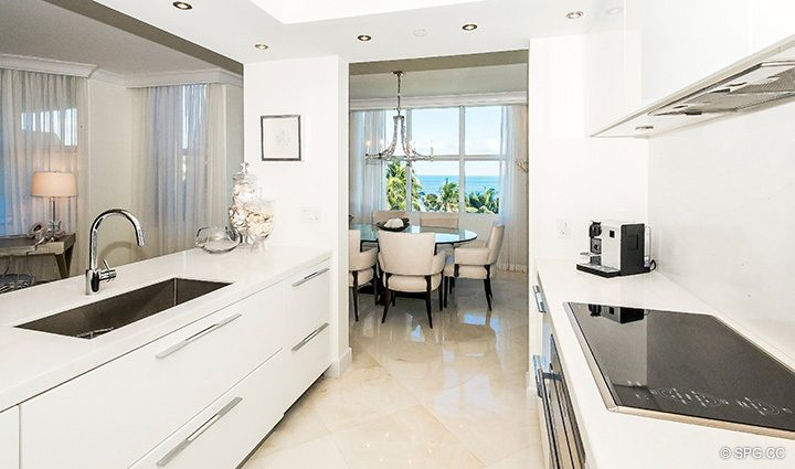 Open Kitchen and Dining Room in Residence 5D, Tower I at The Palms, Luxury Oceanfront Condominiums Fort Lauderdale, Florida 33305