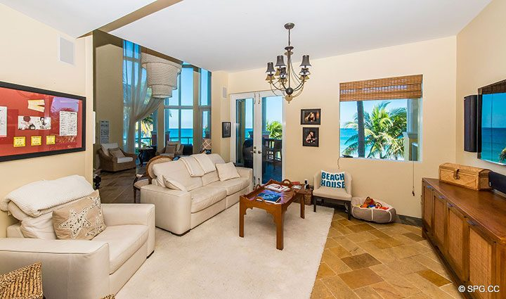 Family Room inside Oceanfront Villa 1 at The Palms, Luxury Oceanfront Condominiums Fort Lauderdale, Florida 33305