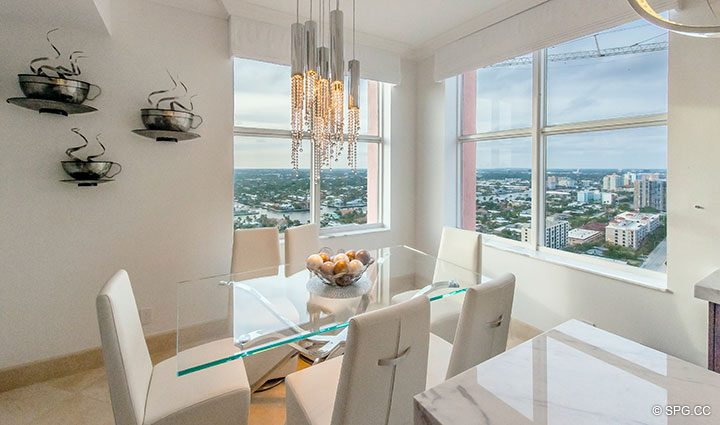 Kitchen Dining Space inside Penthouse Residence 26A, Tower I at The Palms, Luxury Oceanfront Condos in Fort Lauderdale, Florida 33305.
