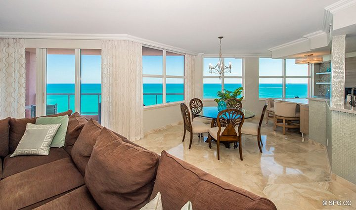 Living Room with Terrace Access in Residence 12B, Tower I at The Palms, Luxury Oceanfront Condominiums Fort Lauderdale, Florida 33305