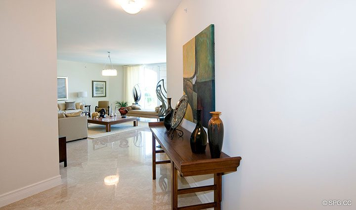 Foyer Leading into Living Room in Residence 304 at Bellaria, Luxury Oceanfront Condominiums in Palm Beach, Florida 33480.
