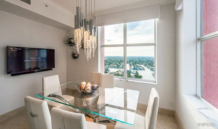 Kitchen Dining Room in Penthouse Residence 26A, Tower I at The Palms, Luxury Oceanfront Condos in Fort Lauderdale, Florida 33305.