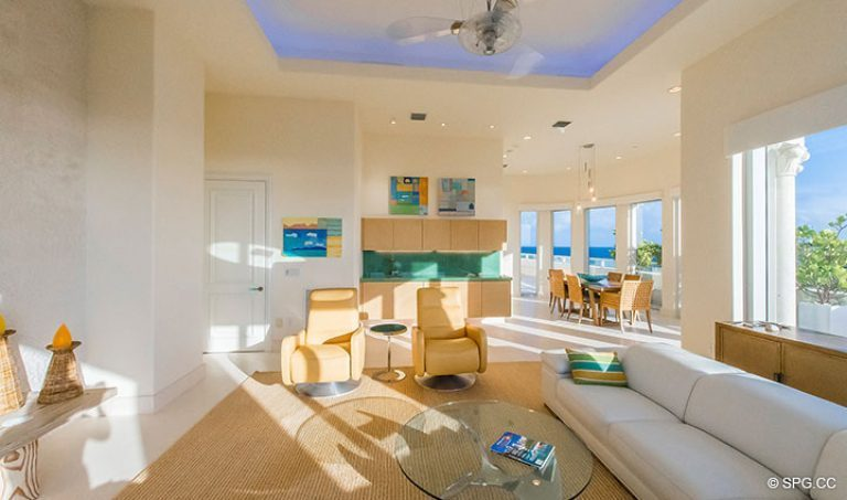 Large Family Room inside Penthouse 7 at Bellaria, Luxury Oceanfront Condominiums in Palm Beach, Florida 33480.