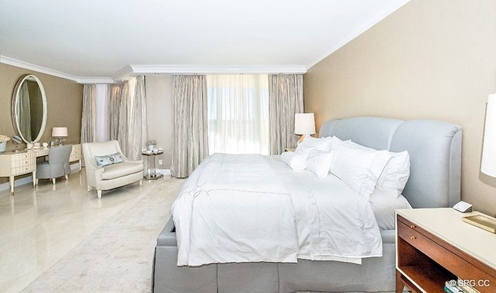 Master Bedroom in Residence 5D, Tower I at The Palms, Luxury Oceanfront Condominiums Fort Lauderdale, Florida 33305