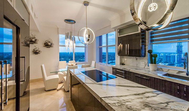 Superb Gourmet Kitchen inside Penthouse Residence 26A, Tower I at The Palms, Luxury Oceanfront Condos in Fort Lauderdale, Florida 33305.