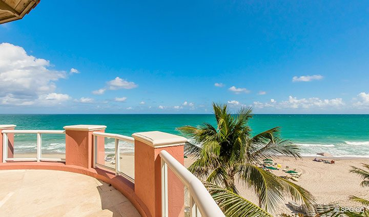 Fourth Floor Beachfront Terrace for Oceanfront Villa 7 at The Palms, Luxury Oceanfront Condominiums Fort Lauderdale, Florida 33305