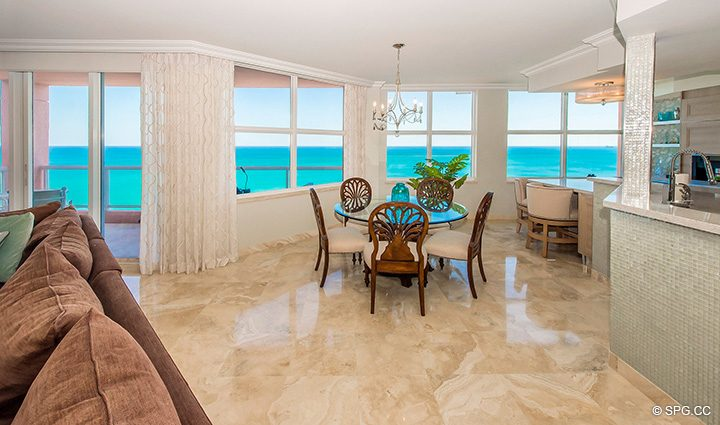Dining Room inside Residence 12B, Tower I at The Palms, Luxury Oceanfront Condominiums Fort Lauderdale, Florida 33305