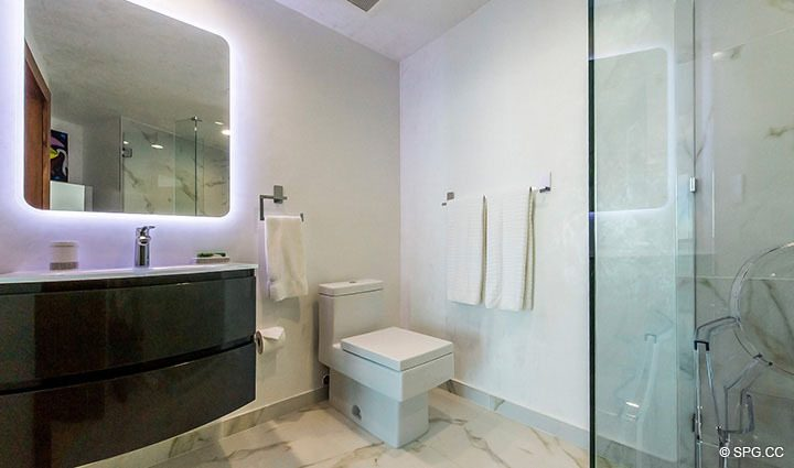 Guest Bathroom in Residence 3806 at Portofino Tower, Luxury Waterfront Condominiums in Miami Beach, Florida 33139