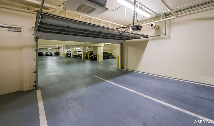 Air Conditioned 2 Car Garage for Residence 204 at Bellaria, Luxury Oceanfront Condominiums in Palm Beach, Florida 33480.