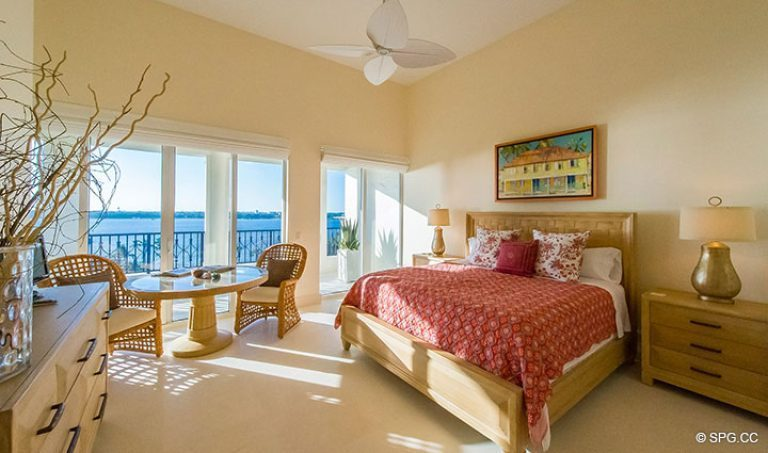 Guest Bedroom with Terrace Access in Penthouse 7 at Bellaria, Luxury Oceanfront Condominiums in Palm Beach, Florida 33480.