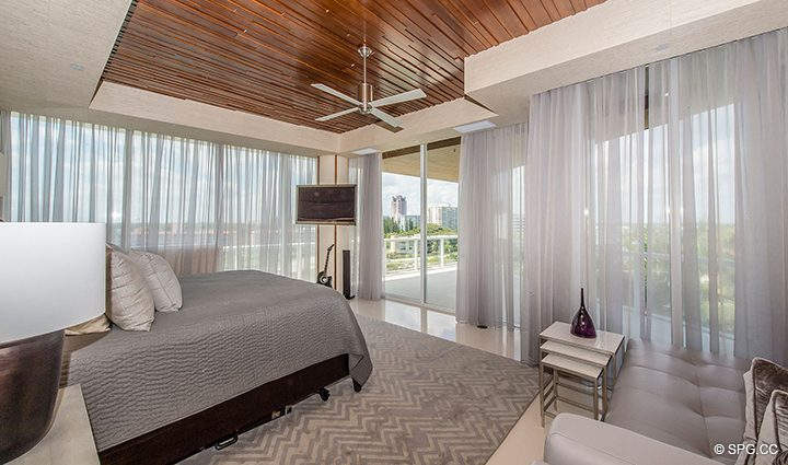 Master Bedroom inside Residence 501 For Sale at 1000 Ocean, Luxury Oceanfront Condos in Boca Raton, Florida 33432.
