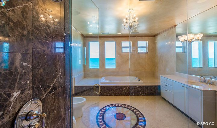 Master Bath inside Oceanfront Villa 7 at The Palms, Luxury Oceanfront Condominiums Fort Lauderdale, Florida 33305