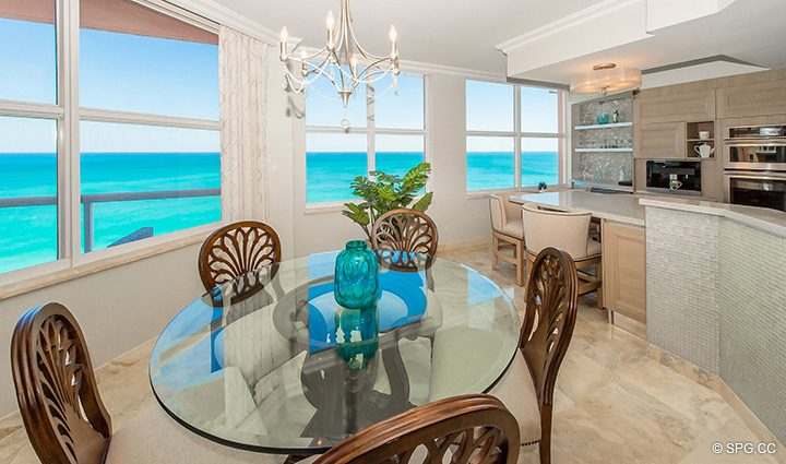 Dining Room Ocean Views in Residence 12B, Tower I at The Palms, Luxury Oceanfront Condominiums Fort Lauderdale, Florida 33305