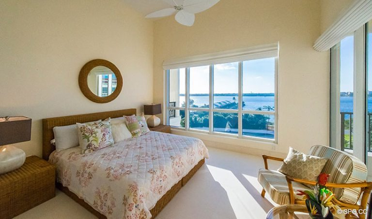 Guest Bedroom with Terrace Access inside Penthouse 7 at Bellaria, Luxury Oceanfront Condominiums in Palm Beach, Florida 33480.