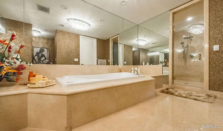 Master Bathroom inside Penthouse Residence 26A, Tower I at The Palms, Luxury Oceanfront Condos in Fort Lauderdale, Florida 33305.