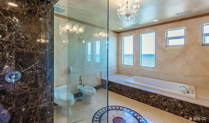 His and Her Master bathroom in Oceanfront Villa 7 at The Palms, Luxury Oceanfront Condominiums Fort Lauderdale, Florida 33305