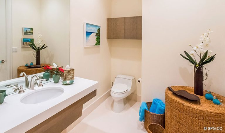 Guest Bathroom inside Penthouse 7 at Bellaria, Luxury Oceanfront Condominiums in Palm Beach, Florida 33480.