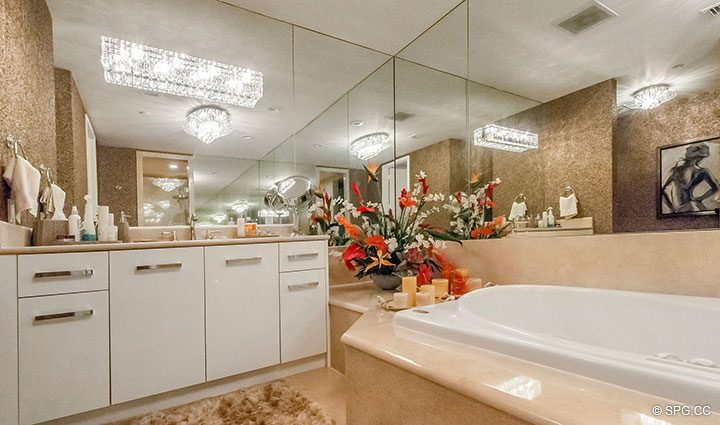 Master Bath with Soaking Tub and Shower in Penthouse Residence 26A, Tower I at The Palms, Luxury Oceanfront Condos in Fort Lauderdale, Florida 33305.