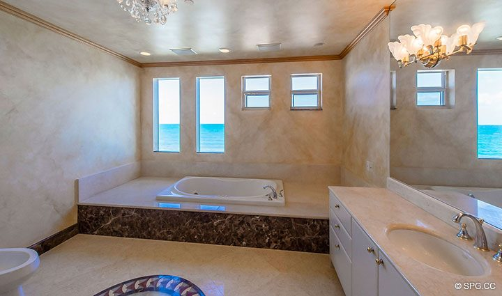 Master Bath with Whirlpool Tub in Oceanfront Villa 7 at The Palms, Luxury Oceanfront Condominiums Fort Lauderdale, Florida 33305