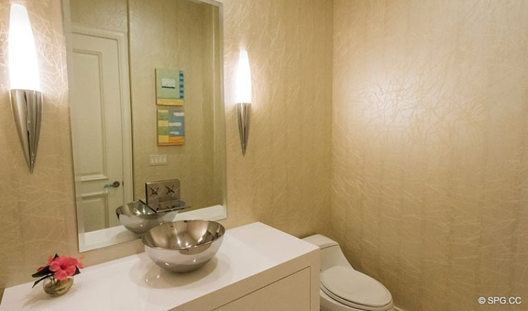 Powder Room inside Penthouse 7 at Bellaria, Luxury Oceanfront Condominiums in Palm Beach, Florida 33480.