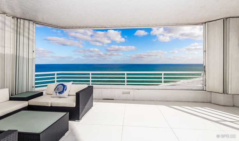 Spacious Private Terrace for Residence 18D at Cristelle, Luxury Oceanfront Condominiums in Lauderdale by the Sea, Florida 33062.