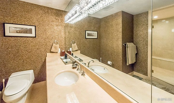 Master Bath in Penthouse Residence 26A, Tower I at The Palms, Luxury Oceanfront Condos in Fort Lauderdale, Florida 33305.