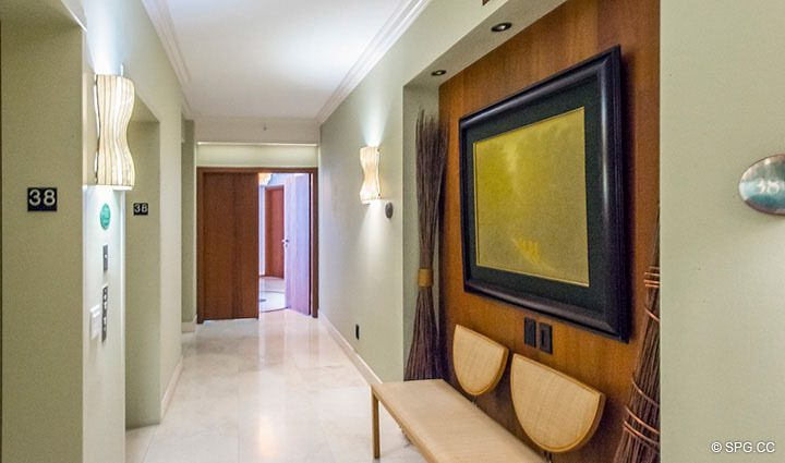 Elevator Landing for Residence 3806 at Portofino Tower, Luxury Waterfront Condominiums in Miami Beach, Florida 33139