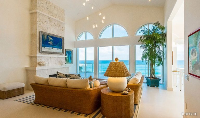 Spectacular Living Room inside Penthouse 7 at Bellaria, Luxury Oceanfront Condominiums in Palm Beach, Florida 33480.
