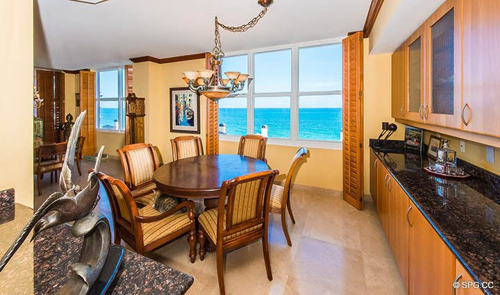 Breakfast Area inside Residence 9B, Tower I at The Palms, Luxury Oceanfront Condos in Fort Lauderdale, Florida 33305.