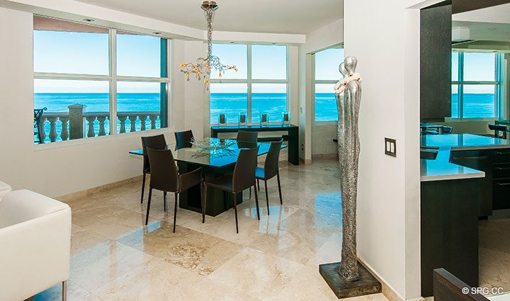 Dining Area inside Residence 11B, Tower I at The Palms, Luxury Oceanfront Condominiums Fort Lauderdale, Florida 33305