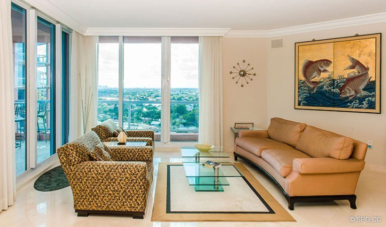 Living Room inside Residence 15E, Tower II at The Palms, Luxury Oceanfront Condos in Fort Lauderdale, Florida 33305.