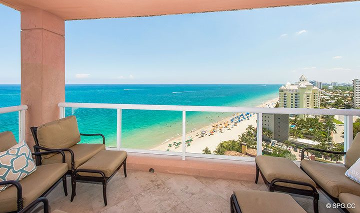 Spacious Private Terrace for Residence 17B, Tower II at The Palms, Luxury Oceanfront Condos in Fort Lauderdale, Florida 33305.