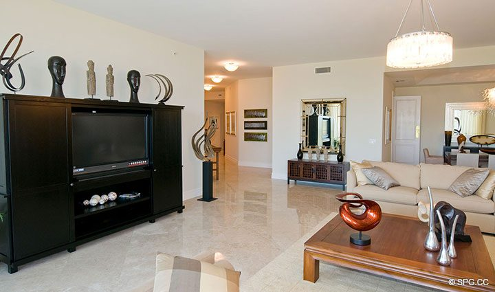 Spacious Living Room inside Residence 304 at Bellaria, Luxury Oceanfront Condominiums in Palm Beach, Florida 33480.
