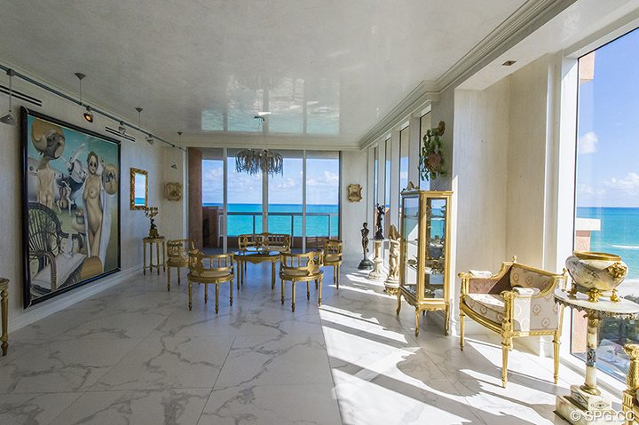 Renovated Living Area Residence 1106 at Acqualina, Luxury Oceanfront Condominiums in Sunny Isles Beach, Florida 33160