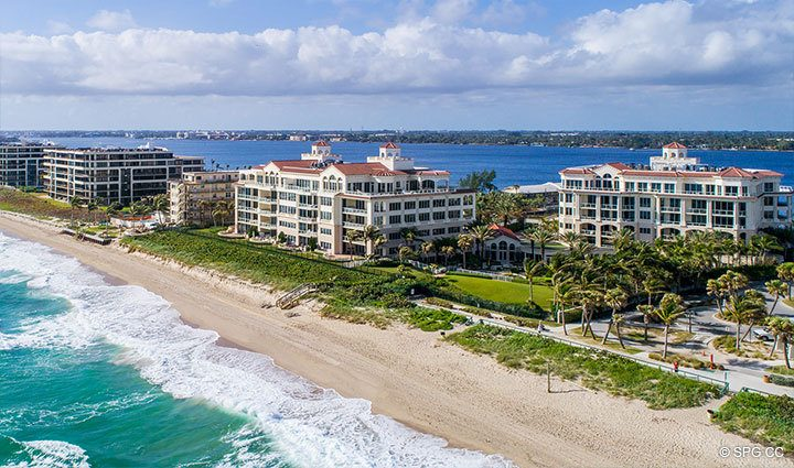 Aerial View of Residence 304 at Bellaria, Luxury Oceanfront Condominiums in Palm Beach, Florida 33480.