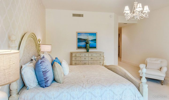 Spacious Master Bedroom in Residence 204 at Bellaria, Luxury Oceanfront Condominiums in Palm Beach, Florida 33480.