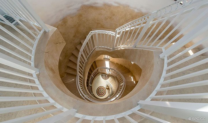 Dramatic Spiral Stairway inside Oceanfront Villa 7 at The Palms, Luxury Oceanfront Condominiums Fort Lauderdale, Florida 33305