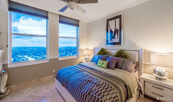 Guest Bedroom inside Penthouse Residence 26A, Tower I at The Palms, Luxury Oceanfront Condos in Fort Lauderdale, Florida 33305.