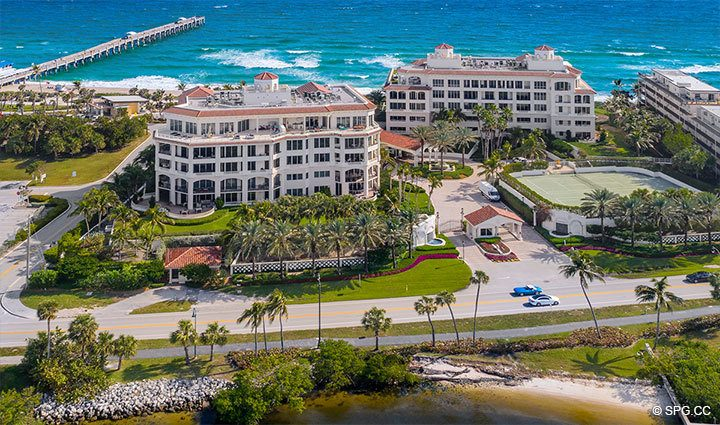 West Side Aerial View of Residence 204 at Bellaria, Luxury Oceanfront Condominiums in Palm Beach, Florida 33480.
