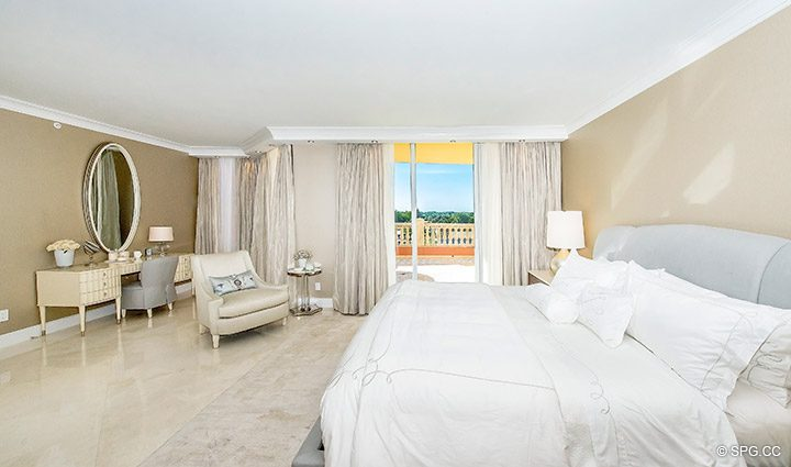 Master Bed with Terrace Access in Residence 5D, Tower I at The Palms, Luxury Oceanfront Condominiums Fort Lauderdale, Florida 33305