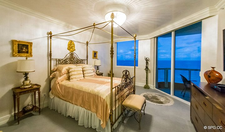 Master Suite Evening View at Residence 1106 at Acqualina, Luxury Oceanfront Condominiums in Sunny Isles Beach, Florida 33160