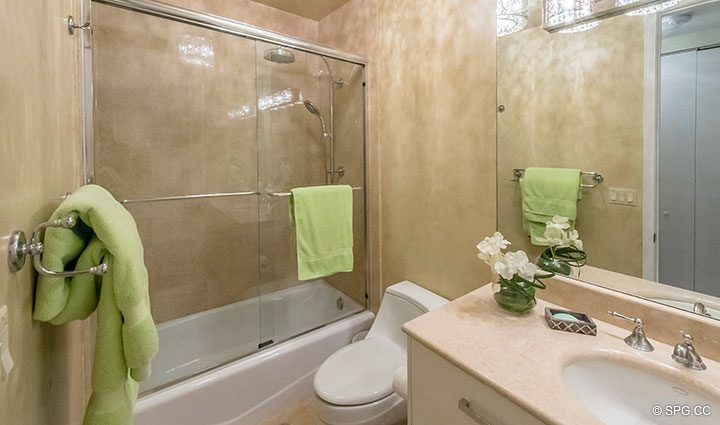 Guest Bathroom in Penthouse Residence 26A, Tower I at The Palms, Luxury Oceanfront Condos in Fort Lauderdale, Florida 33305.