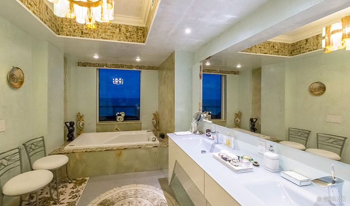 Master Bath Evening at Residence 1106 at Acqualina, Luxury Oceanfront Condominiums in Sunny Isles Beach, Florida 33160