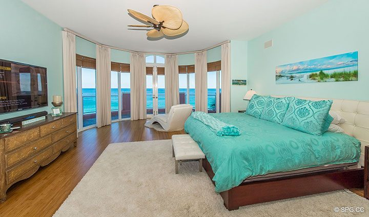 Master Bedroom in Oceanfront Villa 1 at The Palms, Luxury Oceanfront Condominiums Fort Lauderdale, Florida 33305