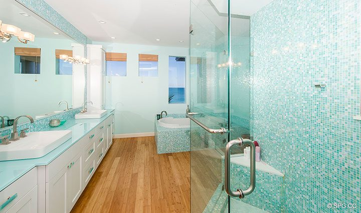 Master Bathroom inside Oceanfront Villa 1 at The Palms, Luxury Oceanfront Condominiums Fort Lauderdale, Florida 33305
