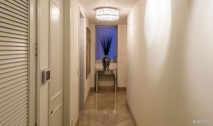Hall in Penthouse Residence 26A, Tower I at The Palms, Luxury Oceanfront Condos in Fort Lauderdale, Florida 33305.